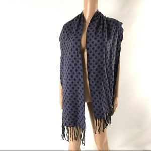 Women Neck Scarf Polka Dot Fringed Purple